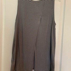 Old Navy Gray White Striped Sleeveless Shirt